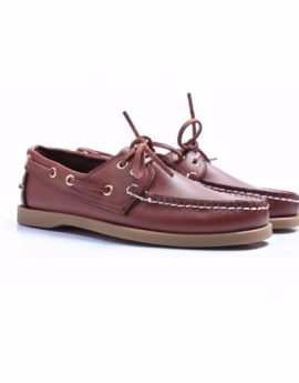 100% Handmade High Quality Leather Boat Shoes (Brown)