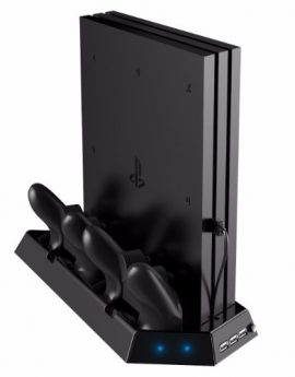 3 in 1 Vertical Stand for PS4 Pro with Cooling Fan Controller Charging Station