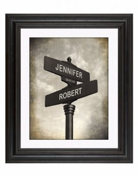 Lovers Crossroad – Personalised Wedding or Anniversary Keepsake Artwork includes Names and the Special Date – Perfect Gift for the Newlyweds & Anniversary