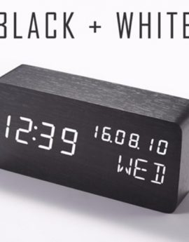 Quality Display Wooden LED Clock with Thermometer