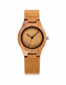 CUCOL Womens Wooden Bamboo Watches Leather Strap with Gift Box
